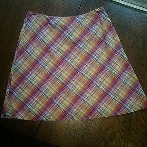 Petite Size 14 Talbots Plaid Print Skirt